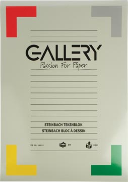 Gallery Steinbach tekenblok, gekorreld, ft 29,7 x 42 cm (A3), 200 g/m², blok van 20 vel