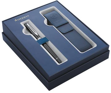 Waterman giftbox vulpen Expert black met palladium detail + blauw penzakje