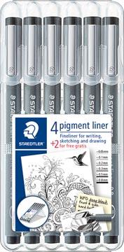 Staedtler fineliner Pigment Liner etui van 4 + 2