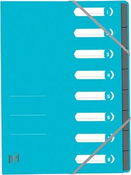 Elba Oxford Top File+ sorteermap, 8 vakken, met elastosluiting, lichtblauw