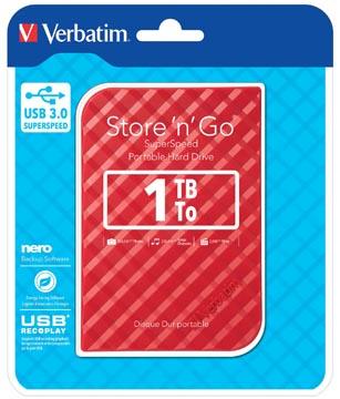 Verbatim harde schijf 3.0 Store 'n' Go, 1 TB, rood