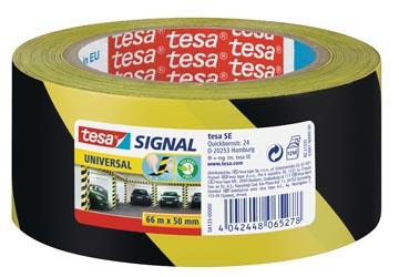 Tesa waarschuwingstape Universal, ft 50 mm x 66 m, geel/zwart