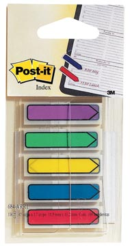 Post-it Index pijltjes, blister met 5 kleuren, 24 blaadjes per kleur