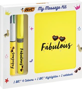 Bic Message Kit Fabulous, balpen 4 colours, markeerstift highlighter en notitieboekje ft A6
