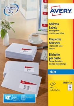 Avery J8159-10 adresetiketten ft 63,5 x 33,9 mm (b x h), 240 etiketten, wit