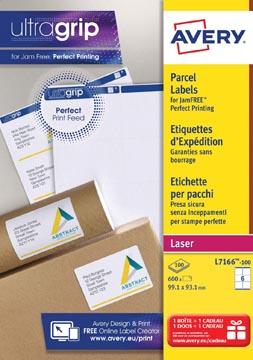 Avery L7166, Verzendetiketten, Laser, Ultragrip, wit, 100 vellen, 6 per vel, 99,1 x 93,1 mm